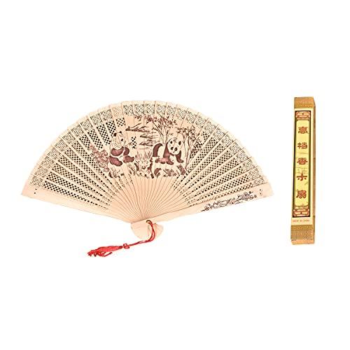 GMOIIRTQ Abanico de madera fragante tallado hueco, diseño de panda chino, abanico de madera de sándalo, ventilador de regalo, ventilador plegable de estilo chino