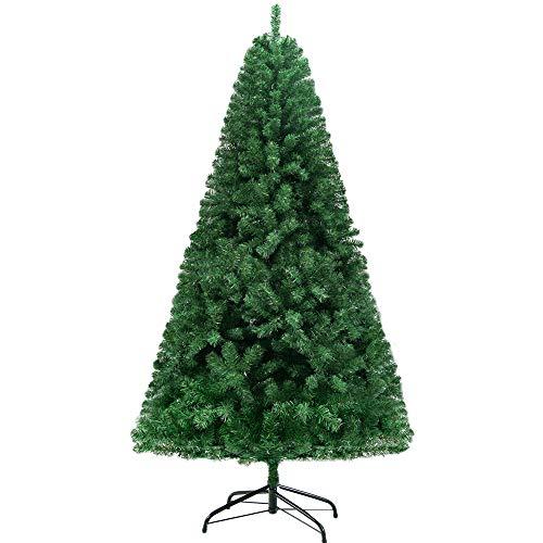 Homewit künstliche Weihnachtsbaum 240 cm(Ø ca. 120 cm), 2,4 M künstliche grüne Tannenbaum mit 1500 Zweige, abziehbar zusammenklappbar und schwer entflammbar, Christbaum mit Metall Ständer(Ø ca. 55 cm)
