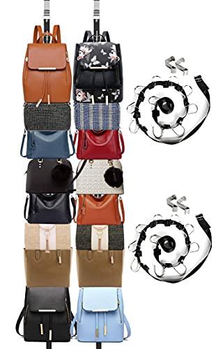 IZUS Bag-Organizer-Rack-Holder Purse Hanger for Door - 20 Hooks for Handbags for Closet and Door 2Pcs (Rack for Handbags/2 pcs Hold 20 Bags)