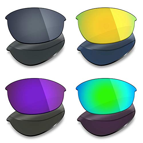Mryok Lot de 4 paires de verres polarisés de rechange pour lunettes de soleil Oakley Half Jacket 2.0 – Noir IR/or 24 carats/violet plasma/vert émeraude