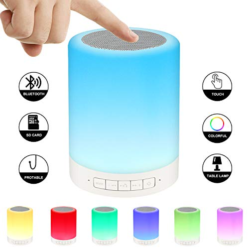 Ideal Festival Gifts for Kids/Man/Woman,Smart Touch Control Beside Lamp Portable Music Speaker,LED Multiple Colors Changing Bluetooth Speaker for Party/Room Decor,Speakerphone/Micro SD Supported.