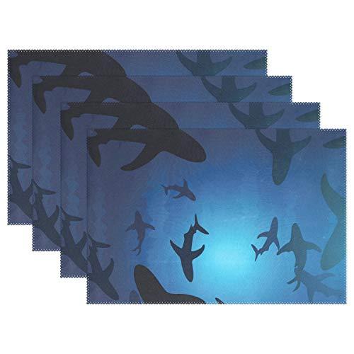 hengpai kleurrijke kat visgraat Placemats hittebestendig wasbaar blauw tafel plaats mat voor keuken eetkamer, set van 1