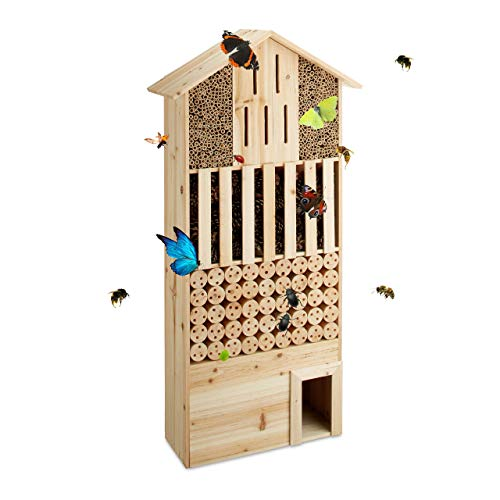Relaxdays Insektenhotel XXL stehend, Nisthilfe für Biene, Schmetterling, Igelhaus, Holz, HxBxT: 118 x 57 x 24 cm, natur