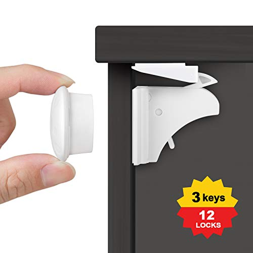 SMBOX Baby Safety Magnetic Cupboard Locks (12 Locks + 3 Keys)- Child Safety Locks for Cabinets,Drawers,Protect Your Kids & Toddlers,No Screws or Drilling Needed