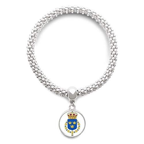 DIYthinker Damen Schweden Europa National Emblem Sliver Armband Laufende Anhänger Schmuck-Kette
