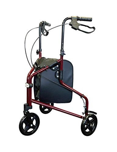 Tuffcare Freedom Lightweight Aluminum Walker for Seniors, Foldable, Rollator Walker with Three Wheels, Height Adjustable Handles (Candy Apple Red)