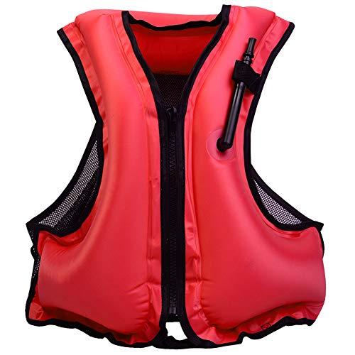 VKTY Erwachsene Schwimmjacke Schnorchel Weste Aufblasbare Schwimmjacke Schwimmweste für Schnorcheln, Kajak, Kanufahren, Surfen Schwimmen M rot