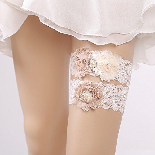 Kercisbeauty - Lot de 2 porte-jarretelles en dentelle faits main - Élastiques et réglables - Blancs avec fleurs roses et perles - Pour mariage, enterrement de vie de jeune fille