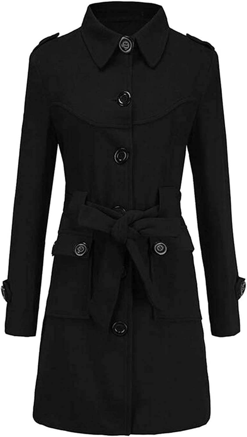 SHOWNO Women's Slim Split Single Breasted Solid Belted Wool Blend Trench Pea Coat Overcoat