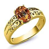 Gem Stone King 1.5カラット 天然石 エクスタシーミスティックトパーズ 指輪 リング レディース シルバー925 イエローゴールドコーティング
