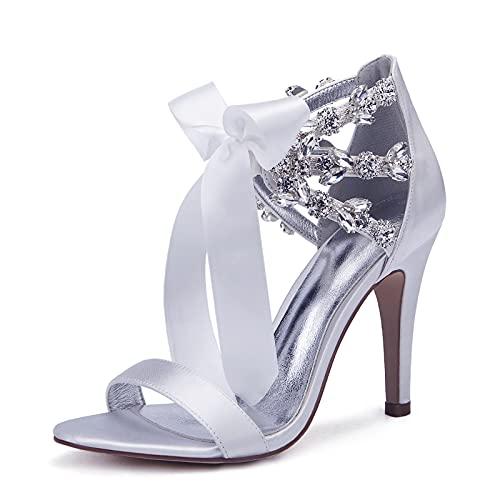 Zapatos De Boda para Mujer Lace Up Stiletto Heel Sandals Sweet Fiesta Tarde Satin Crystal Ribbon Tie Sandals,Blanco,39 EU
