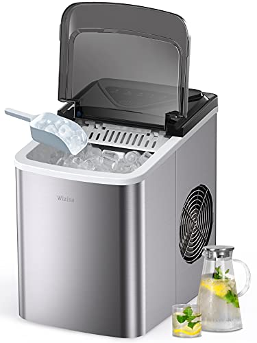 Wizisa Ice Maker Machine for Countertop, 9 Bullet Ice Cubes Ready in 6 Minutes, 26lbs in 24Hrs...
