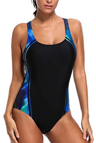 CharmLeaks Women Sports Swimsuit One Piece Racerback Bathing Suits Training Swimwear M
