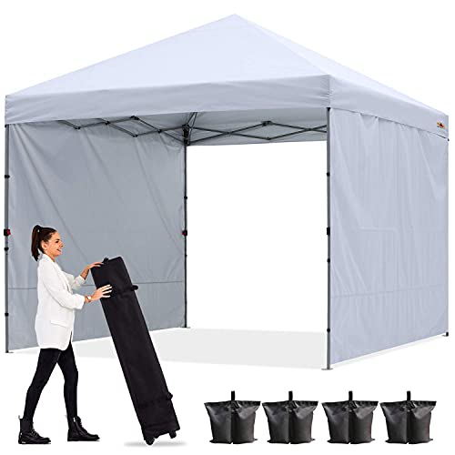 ABCCANOPY Outdoor Easy Pop up Canopy Tent with 2 Sun Wall 8x8, White