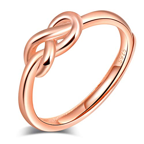 INFINIONLY Anillo abierto de plata de ley 925 para mujer, con símbolo de infinito, oro rosa, anillo de boda, tamaño ajustable