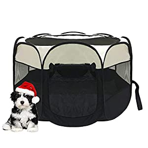 afuLaI Portable Foldable Pet Playpen Exercise Pen Kennel with Carrying Case for Dog Cat Rabbit Hamster Indoor/Outdoor Use