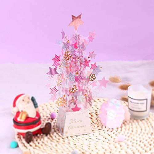 "Paper Spiritz 「クリスタルクリスマスツリー」クリスマスポップアップカード、クリスマスカード 立体 和風 本、Christmas Card   ピンクゴールド 6""×9''"
