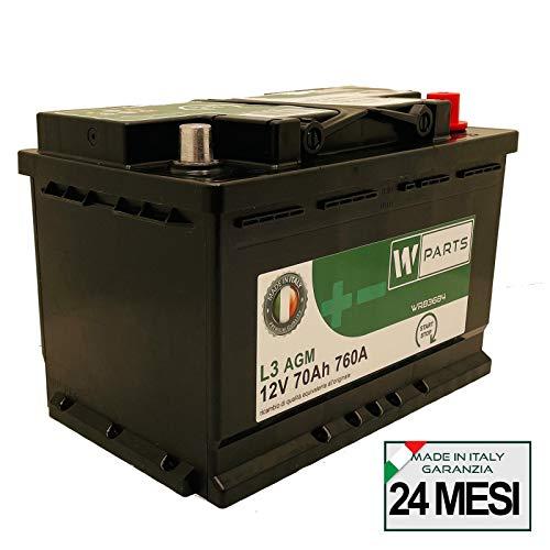 Batteria Auto 70 Ah AGM - 760A   Start & Stop   278 x 175 x 190   70Ah   VR760