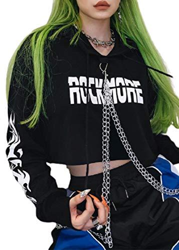 GreatestPAK Damen Gothic Punk Langarm Kapuzenpullover Lässig Bluse Pullover Crop Tops Punk Style Schnallenkette Hoodie Nabel Sweatshirt (S, Schwarz_1)