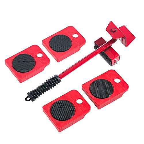 AHXF Levantador De Muebles con Rueda Fija Y 4 Controles Móviles Móviles Portátiles, con Ruedas Transportador De Muebles, Muebles Pesados para Alfombras Y Pisos Duros, MAX hasta 150 Kg Rojo