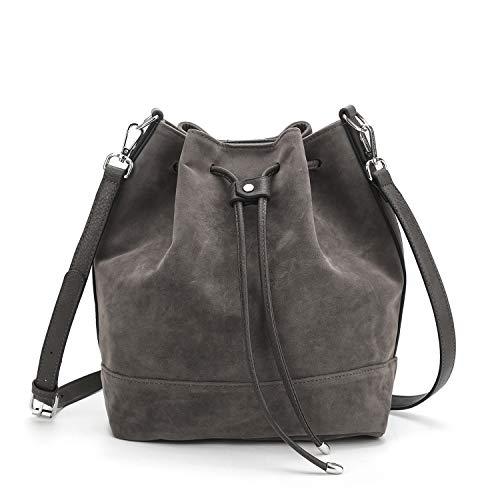 AFKOMST Drawstring Bucket Bag for Women Large Crossbody Purse and Shoulder Bag Suede Tote Handbags Grey