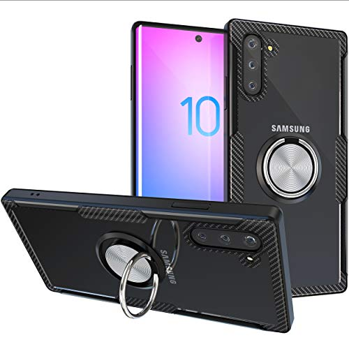 Samsung Galaxy Note 10 Plus Case | Transparent Crystal Clear Cover | Carbon Fiber Trim & Rubber Bumper |360° Rotating Magnetic Finger Ring | Kickstand | Compatible for Samsung Galaxy Note 10+ - Black