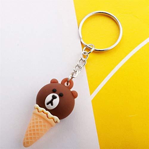 YJShop Schlüsselanhänger Kreative Karikatur-Tier-Eiscreme Keychain Niedliches Einhorn süßes Cone Beutel-Anhänger-Geschenk (Color : Bear)