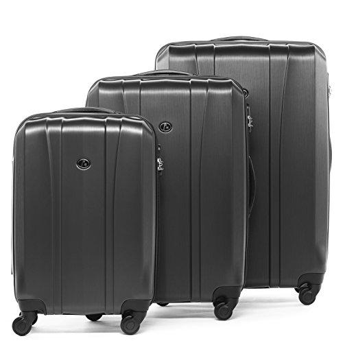 FERGÉ Kofferset Hartschale 3-teilig Dijon Trolley-Set - Handgepäck 55 cm, L und XL 3er Set Hartschalenkoffer Roll-Koffer 4 Rollen grau