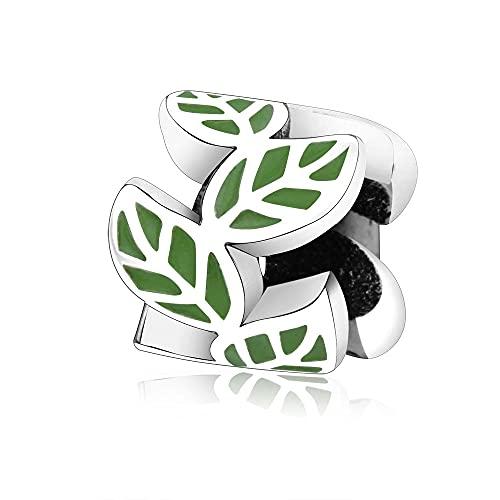 LIIHVYI Pandora Charms para Mujeres Cuentas Plata De Ley 925 Colección De Joyas De Europa Hoja Redonda con Esmalte Compatible con Pulseras Europeos Collars