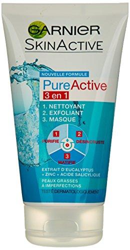 Garnier - Pure Active - Nettoyant gommage masque - 3 en 1 Nettoyant Exfoliant Masque