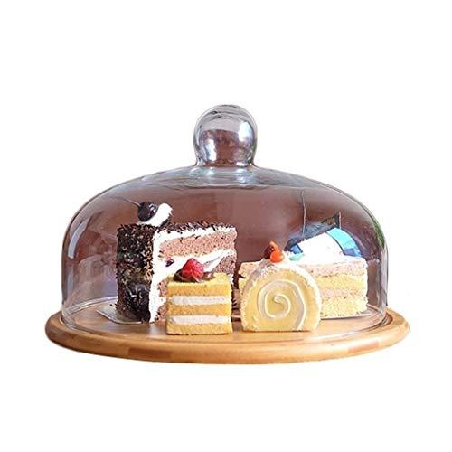 Simplicidad Creativa Caja de Pastel de Madera, Plato de Pastelería de Frutas Estriado Bandeja de Postre de Fiesta Cubierta de Polvo de Vidrio Sushi Cheese Dome Chip \U0026 Amp; Dip Server Tres Tamaño