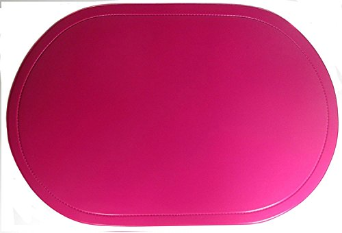 4pieza púrpura manteles individuales/Oval/superficie lisa borrable//