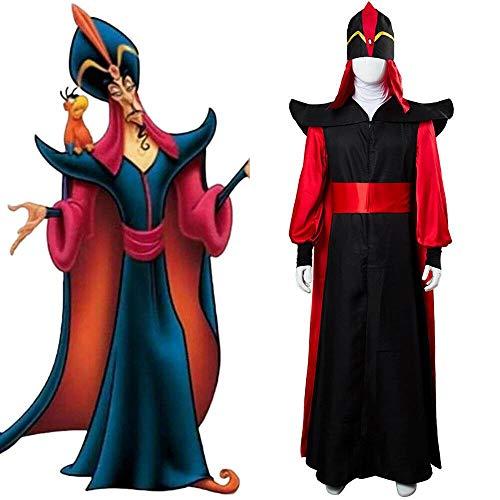 WSJDE (Conjunto Completo) Traje de Villano de Aladdin Jafar Personalizado para Hombres Traje de Cosplay de Aladdin para Halloween XXXL