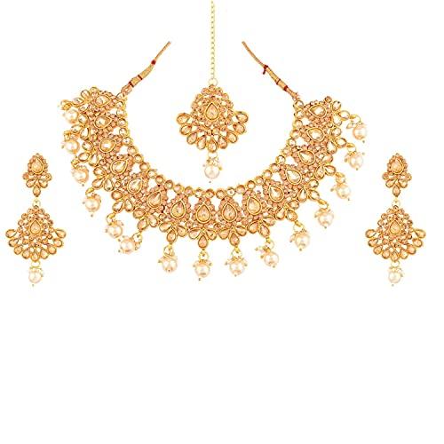 Efulgenz Collar de perlas de imitación de cristal de la India con diseño floral, pendientes de lágrima, cadena de cabeza Maang Tikka Bollywood, Metal, desconocido,