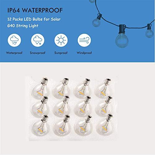 LED Glühbirnen Globe Glass Ersatzbirnen für Solar G40 Lichterketten Wasserdicht Indoor/Outdoor Globe warmweiß wasserdicht