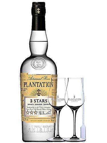 Plantation 3 Stars White Rum Jamaica, Barbados, Trinidad 0,7 Liter + 2 Plantation Stölzle Gläser ohne Eichstrich + Einwegpipette 1 Stück