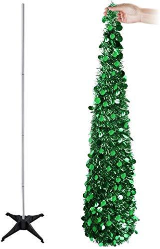 Powzz 1 5 m (5 pies) - Espumillón plegable con lentejuelas para decoración navideña (plata) - verde