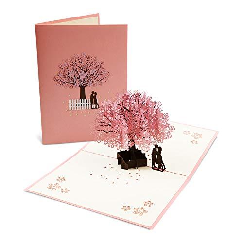 Vegena Hochzeitskarte 3D, Hochzeitskarten Glückwunsch Glückwunschkarte Hochzeit Valentinstag Karte Hochzeitsgeschenke für Brautpaar Pop Up Grußkarten mit Umschlag