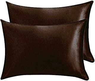 Juwenin Bedding,Super Soft and Luxury Silky Satin Pillowcase with Zipper (Silky Satin Pillow Case for Hair) Set of 2 (Coff...