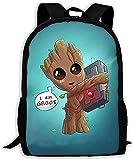 Mochila Groot de gran capacidad, con bolsillo lateral, mochila con personaje anime, adecuada para la...