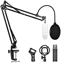 Microphone Stand for Blue Yeti and Blue Yeti Pro with Mic Windscreen and Double layered screen Pop Filter Heavy Duty Boom Scissor Arm Stands,Broadcasting and Recording