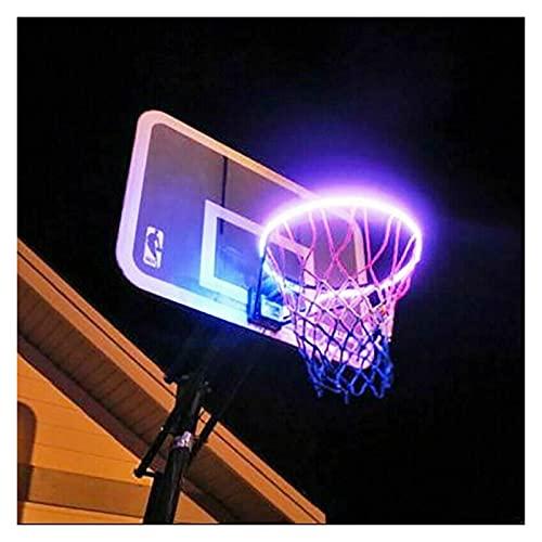 Luces de aro de baloncesto LED, luz de baloncesto solar LED, cambio de color, cambio de color por ti mismo, impermeable, súper brillante para jugar en la noche al aire libre, buen regalo para niños