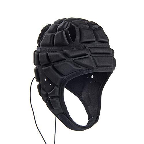 MonH zacht gevoerde hoofddeksel, hoge elastische voetbal helm verstelbare voetbal goalie hoofd val bescherming voor boksen rugby voetbal doelman past kinderen volwassen
