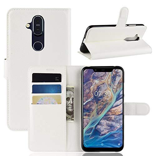 Lapinette Hülle Kompatibel mit Nokia 8.1 - Schutzhülle Klappbar Stoßfeste Folio - Lederhülle Nokia 8.1 - Wallet Kartenfächer Standfunktion Magnet Weiß