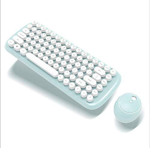 ZGYQGOO Kabelloses Tastatur- und Mausset, Rosa Tastatur mit runder Tastenkappe, fehlerfreie 2,4-GHz-Verbindung, Lange Akkulaufzeit des Computers/Laptops, Grün
