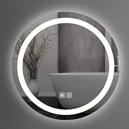 ZCZZ Espejo de baño LED Redondo Espejo de tocador de Maquillaje Inteligente con luz LED iluminada, Interruptor de Sensor táctil, Luz Blanca 6500K, Varios tamaños