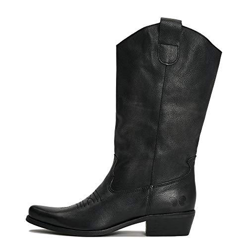 Felmini - Damen Schuhe - Verlieben Gerbera 7962 - Cowboy & Biker Stiefel - Echtes Leder - Schwarz - 40 EU Size