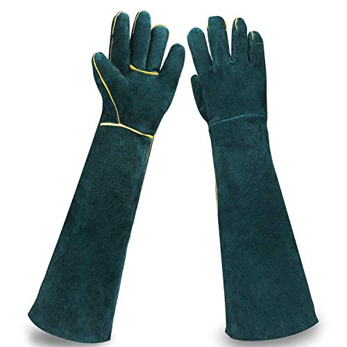 Animal Protection Gloves, EnPoint 22.4IN Reptile Handling Glove,Strengthened Cowhide Leather Anti Bite/Scratch Long Resistant Bathing Training Snake Hand Gloves for Pet Dog Cat Lizard Wild Animals