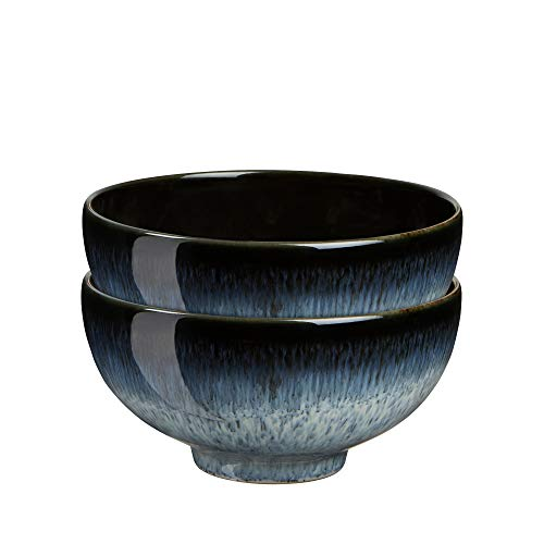 Denby 199048845 Halo 2 Piece Rice Bowl Set, Black