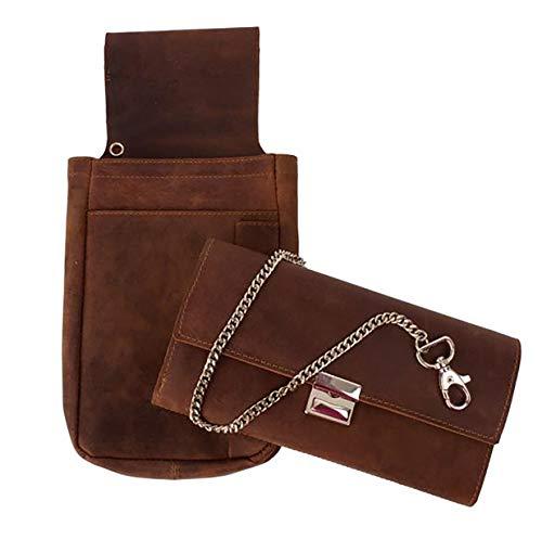 Leuchtbox - Set professionale da cameriere, in pelle, con fondina e catena in metallo, colore: Marrone